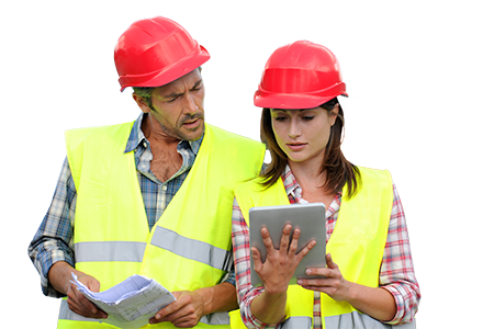 construction people using electronic tablet on-site