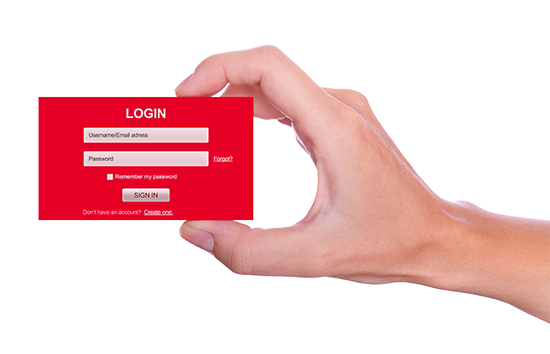 login user name and password form handheld